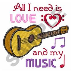 LOVE AND MUSIC embroidery design
