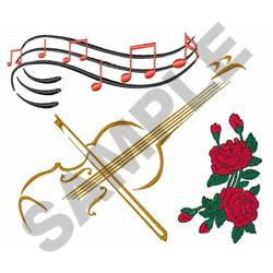 VIOLIN MUSIC ROSES embroidery design