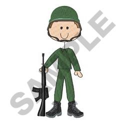 Military Stick Figure embroidery design
