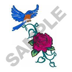 Blue Bird Rose embroidery design