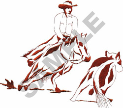 CUTTING HORSE & STEER embroidery design
