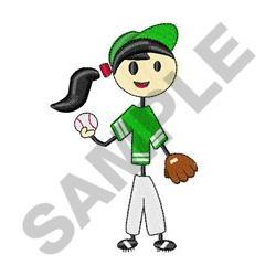 Baseball Girl embroidery design