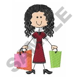 STICK FIGURE SHOPPING embroidery design