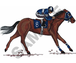 RACEHORSE AND JOCKEY embroidery design
