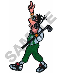 ANIMATED GOLFER ON CELL PHONE embroidery design