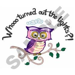 WHO TURNED OUT LIGHTS embroidery design