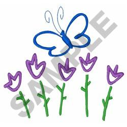 BUTTERFLY AND TULIPS embroidery design