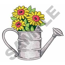 FLOWERS IN WATERING CAN embroidery design