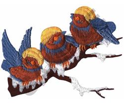 THREE CHICKADEES ON BRANCH embroidery design