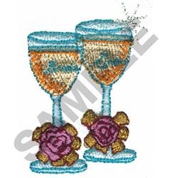 BRIDE & GROOM GLASSES embroidery design