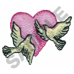 TWO DOVES WITH HEART embroidery design