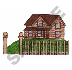 HOUSE AND PICKET FENCE embroidery design