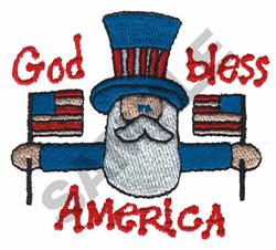 'GOD BLESS AMERICA' PATRIOTIC MAN embroidery design