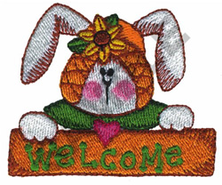 WELCOME BUNNY embroidery design