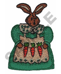 RABBIT DOLL HOLDING CARROTS embroidery design