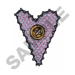 STITCHED HEART AND BUTTON embroidery design