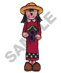GIRL HOLDING BIRDHOUSE embroidery design
