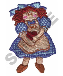 DOLL HOLDING HEART embroidery design