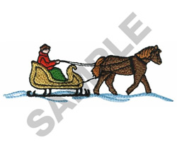 SLEIGH WITH HORSE embroidery design