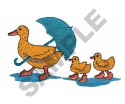 DUCK W/UMBRELLA & DUCKLINGS embroidery design