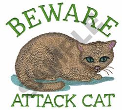 BEWARE ATTACK CAT embroidery design