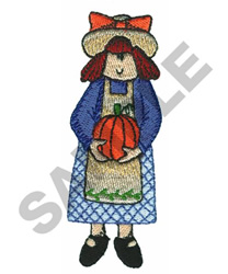 LITTLE GIRL WITH PUMPKIN embroidery design