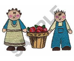 APPLE FARMER COUPLE embroidery design