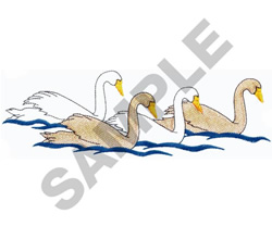FOUR SWANS embroidery design