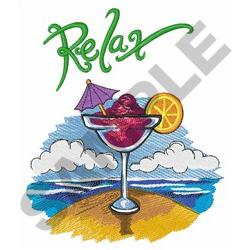 RELAX ON THE BEACH embroidery design