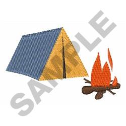 TENT AND CAMPFIRE embroidery design