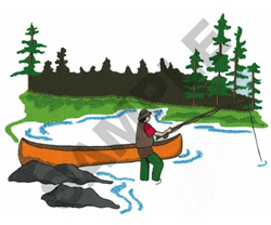 FLY FISHING SCENE embroidery design