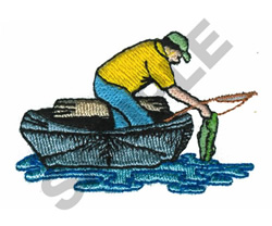 FISHERMAN WITH BOAT embroidery design