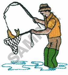FISHERMAN WITH A CATCH embroidery design