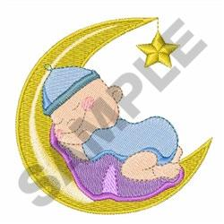 BABY ON MOON embroidery design