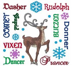 REINDEER NAMES embroidery design