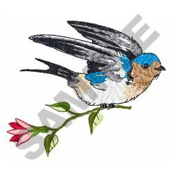 SWALLOW WITH FLOWER embroidery design