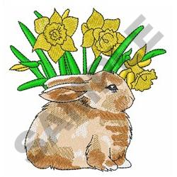 BUNNY AND DAFODILS embroidery design
