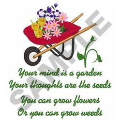 YOUR MIND IS A GARDEN embroidery design