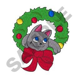 CAT IN CHRISTMAS WREATH embroidery design