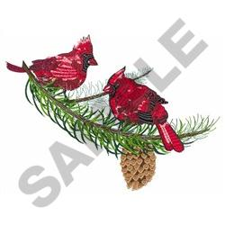 CARDINALS IN PINE TREE embroidery design