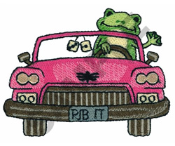 FROG DRIVING PINK CAR embroidery design