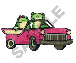 FROGS DRIVING embroidery design