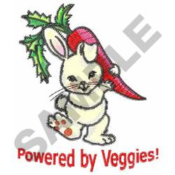 POWERED BY VEGGIES! embroidery design