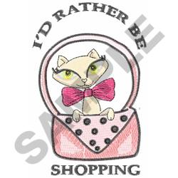 KITTY WITH PINK PURSE embroidery design