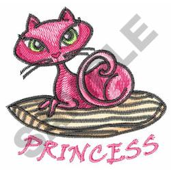 PINK KITTY ON A PILLOW embroidery design