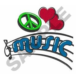 PEACE LOVE MUSIC embroidery design