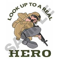 LOOK UP TO REAL HERO embroidery design