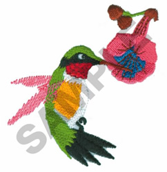 RUBY-THROATED HUMMINGBIRD embroidery design