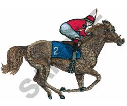 THOROUGHBRED AND JOCKEY embroidery design