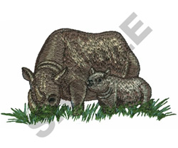 RHINO WITH BABY embroidery design